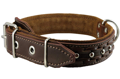 Genuine Leather Braided Studded Dog Collar, Soft Suede Padded Brown 1.5