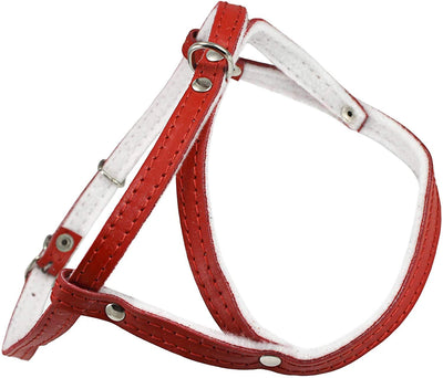 Leather Dog Harness Padded Red
