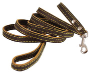 "Genuine Thick Leather Classic Dog Leash 1/2"" Wide 6 Ft, Small Breeds"