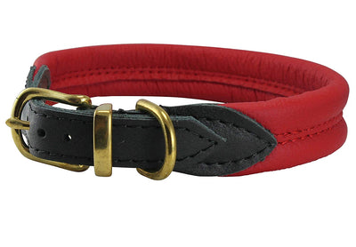Red Soft Genuine Rolled Leather Dog Collar Brass Hardware