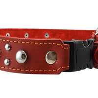 "Red Genuine Leather Studded Dog Collar, Soft Suede Padded1.5 Wide. Fits 17""-20"" Neck"