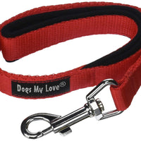 "Short Dog Leash Padded Handle Wide Nylon Traffic Lead 22"" Long Red"