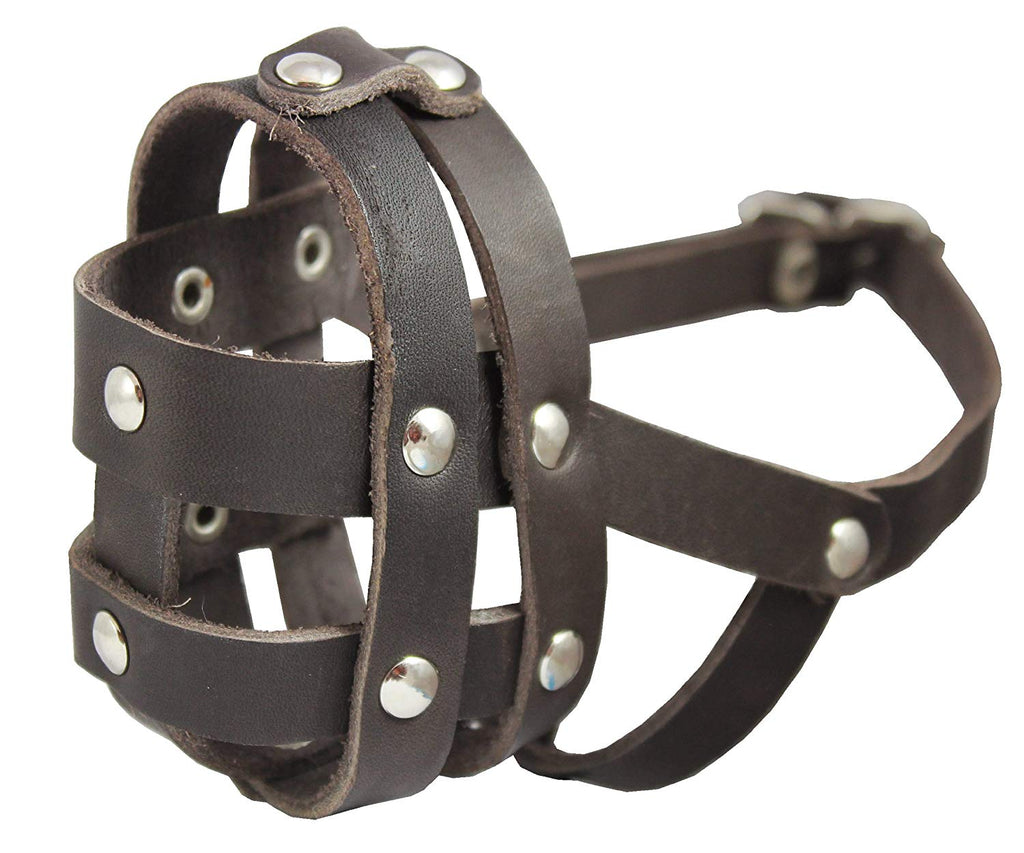 "Real Leather Dog Basket Muzzle #0 Brown - Spaniel, Poodle, Schnauzer (Circumf 8.5"", Snout Length 2"")"