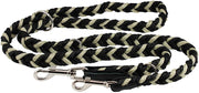 "6 Way Euro Multifunctional Braided Dog Leash, Adjustable Schutzhund Lead 42""-68"" Long 4 Sizes Beige"