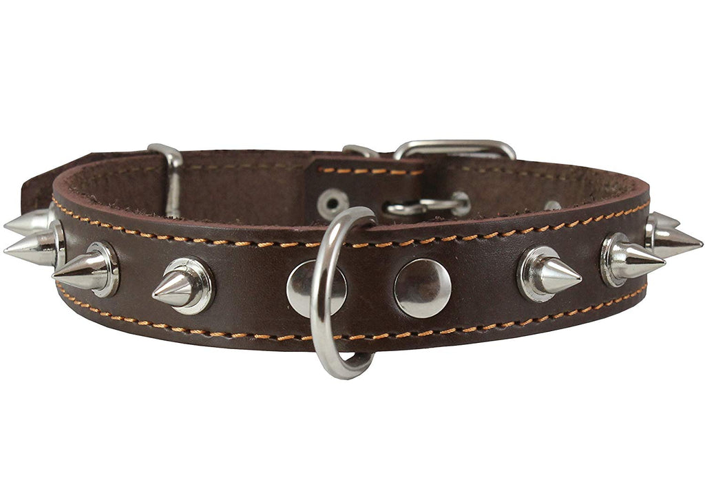 "Dogs My Love Real Leather Brown Spiked Dog Collar Spikes, 1"" Wide. Fits 14""-17"" Neck, Medium Breeds"