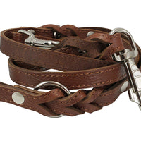"6 Way Multifunctional Leather Dog Leash Braided, Adjustable Lead Brown 42""-84"" Long 3/4"" Wide(18 mm)"