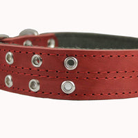 "Genuine Leather Dog Collar, Padded, Red 1.5"" Wide. Fits 18""-22"" Neck Size Cane Corso Doberman"