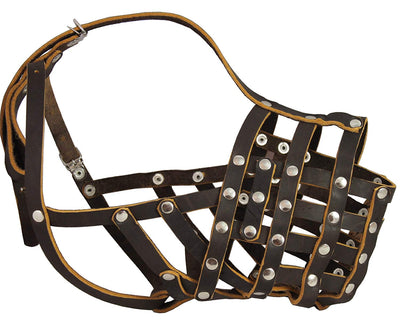 Real Leather Cage Basket Secure Dog Muzzle - Great Dane, Saint Bernard (Circumf 18.5