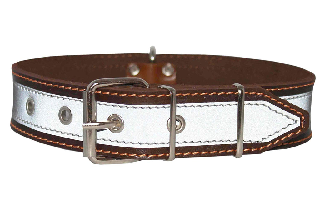 "Genuine Leather Reflective Dog Collar 27"" Long 1.6"" Wide Brown Fits 19.5""-23.5"" Neck"