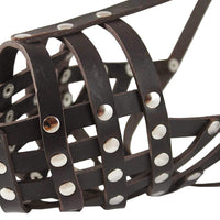 "Secure Genuine Leather Mesh Dog Basket Muzzle Brown - Pit Bull (Circumf 12.5"", Snout Length 3.5"")"