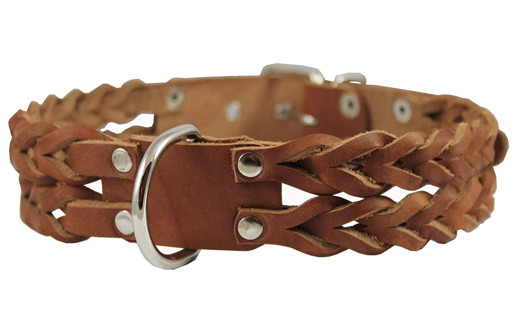 "Dogs My Love Double Braid Brown Genuine Leather Dog Collar 1.5"" Wide, Fits 19.5""-22.5"" Neck, Large"