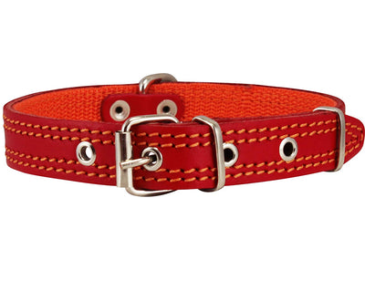 Genuine Leather Dog Collar Padded Red 3 Sizes