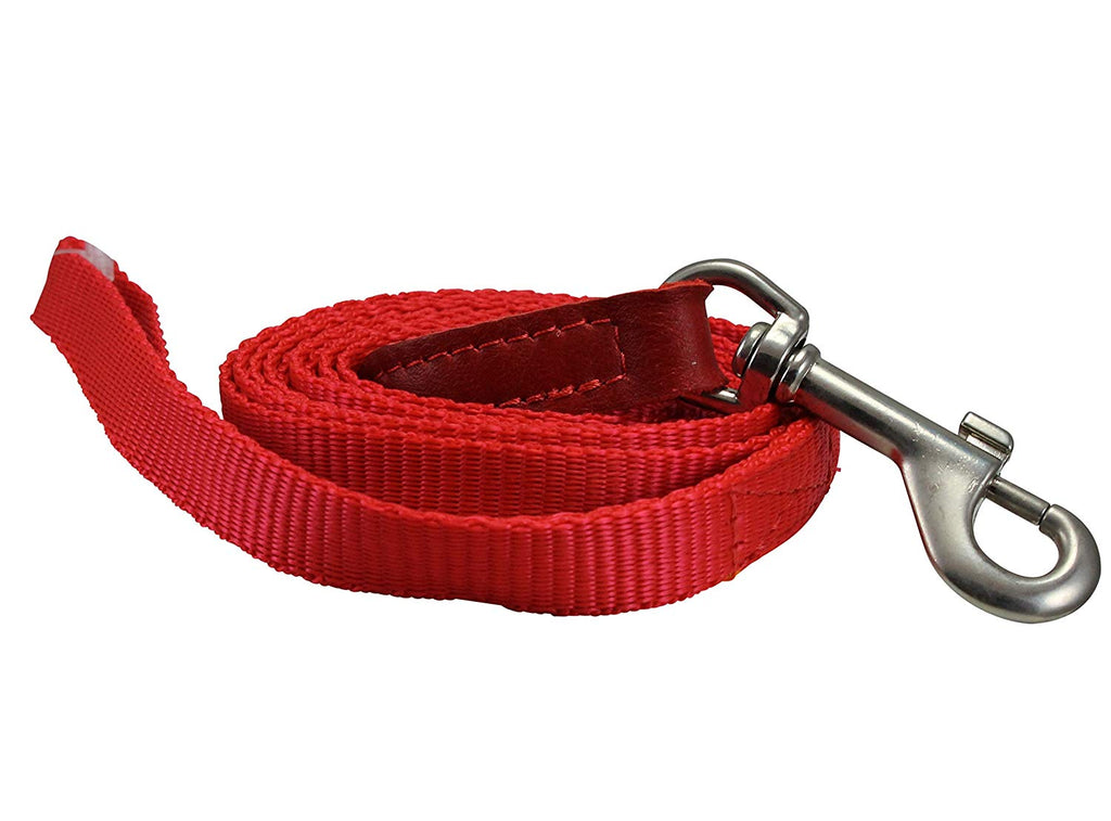 "Dog Leash 1/2"" Wide Nylon 6ft Length with Leather Enforced Snap Red Small"