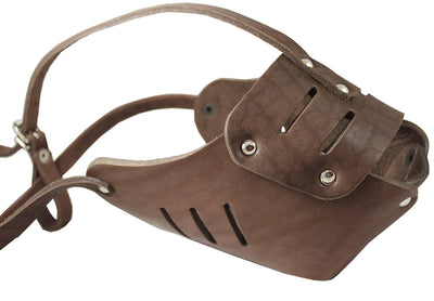 Real Leather Cage Basket Secure Dog Muzzle #131 Brown (Circumference 15