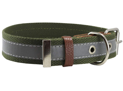 Cotton Web/Leather Reflective Dog Collar 24