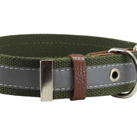 "Cotton Web/Leather Reflective Dog Collar 20"" Long 1"" Wide Fits 14""-18"" Neck, Basset Hound, Retriever"