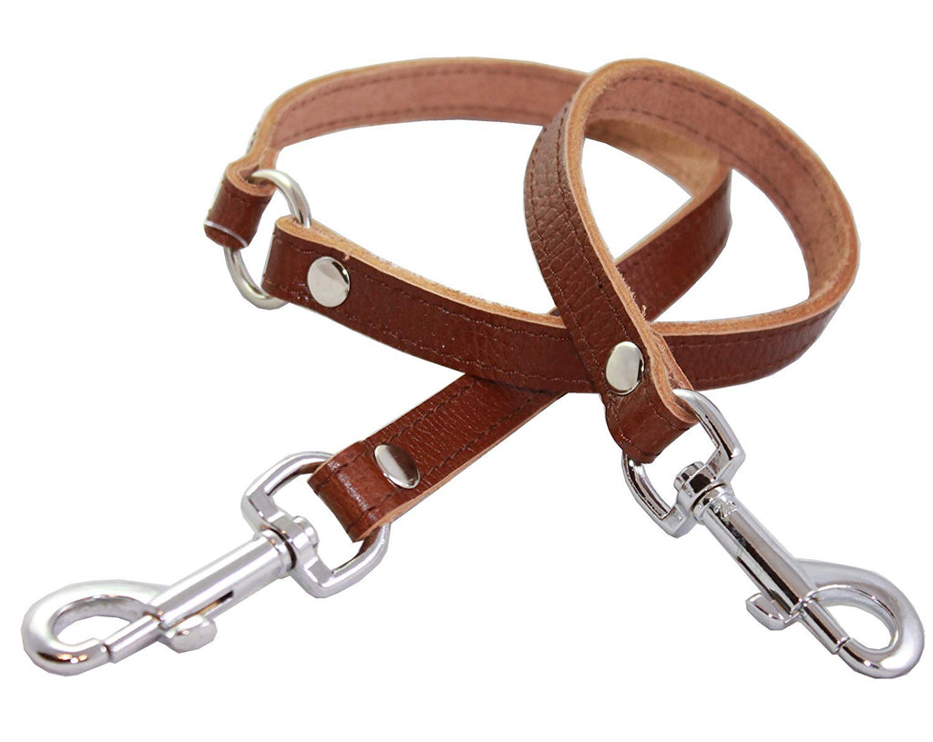 "Genuine Leather Double Dog Leash - Two Dog Coupler (Brown, Medium 15"" long by 5/8"" wide)"