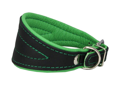 Real Leather Extra Wide Padded Tapered Dog Collar Glossy Black Saluki Deerhound Whippet Green