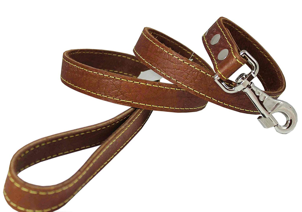"4' Classic Genuine Leather Dog Leash 1"" Wide for Largest Breeds Brown"