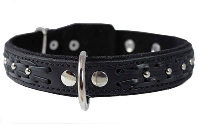 Genuine Leather Braided Studded Dog Collar, Black 1.25