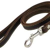 "Genuine Thick Leather Classic Dog Leash 3/4"" Wide 4 Ft, Medium, Large"