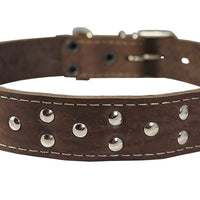 "Training Pinch and Genuine Leather Studded Dog Collar Fits 16""-19"" Neck Brown 24""x1"" Wide"