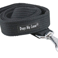 Dog Leash 4.5ft Long Cotton Web for Training, Black 4 Sizes