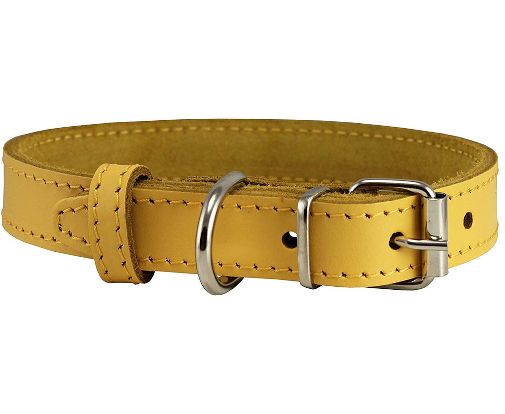 Genuine Leather Dog Collar Yellow 4 Sizes