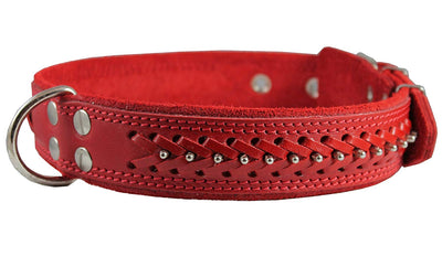 Genuine Leather Braided Studded Dog Collar, Red 1.6