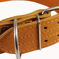 "Genuine Leather 25""x1.75"" Wide Handle Collar Fits 18""-21"" Neck Tan Large Pitbull, Doberman"