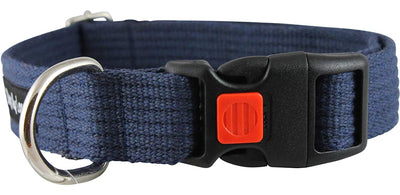 Cotton Web Adjustable Dog Collar with Locking Device 4 Sizes Blue
