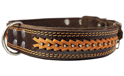Genuine Leather Braided Studded Dog Collar, Brown 1.75