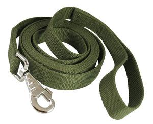 "Training Dog Leash 3/4"" Wide Cotton Web 15 Ft Long Green"