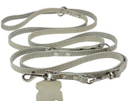 "White 6 Way Euro Leather Dog Leash, Adjustable Lead 49""-94"" Long, 3/8"" Wide (10 mm) for Small Dogs"