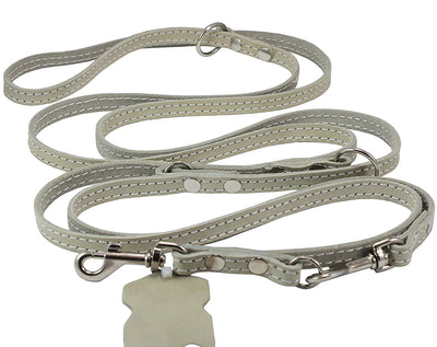 White 6 Way Euro Leather Dog Leash, Adjustable Lead 49