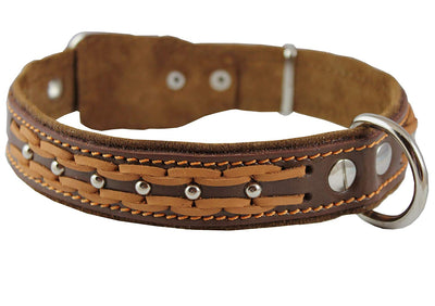 Genuine Leather Braided Studded Dog Collar, Brown 1.25