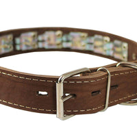 "Training Pinch and Genuine Leather Studded Dog Collar Fits 13""-17"" Neck Brown 21.5""x1.5"" Wide"