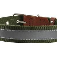 "Cotton Web/Leather Reflective Dog Collar 18"" Long 3/4"" Wide Fits 12""-16"" Neck, Basset Hound, Spaniel"