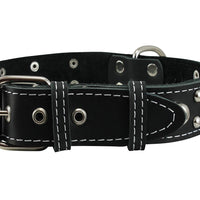 "Black Real 1.5"" Wide Thick Leather Studded Dog Collar. Fits 17""-21.5"" Neck, Large Breeds."
