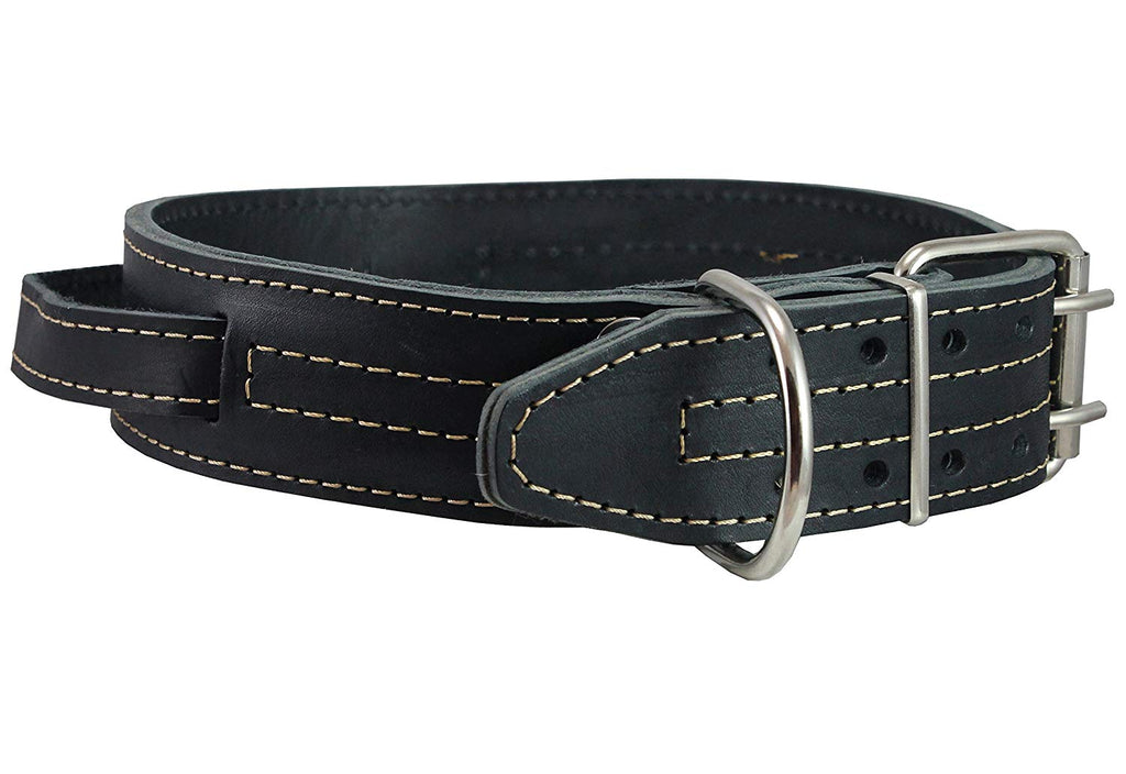 "Dogs My Love Black Genuine Leather 27""x1.75"" Wide Handle Collar Fits 20""-23"" Neck X-Large"