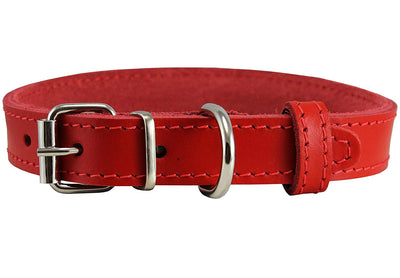 Genuine Leather Dog Collar Red 4 Sizes