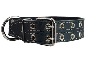 "Genuine Leather Dog Collar, Padded, Black 1.5"" Wide. Fits 22.5""-26.5"" neck size Great Dane Mastiff"
