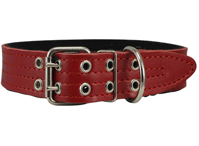 Genuine Leather Dog Collar, Padded Red, 1.5