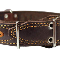 "Genuine Leather Braided Studded Dog Collar, Brown 1.75"" Wide. Fits 22""-27"" Neck."