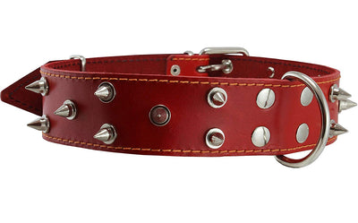 Real Leather Red Spiked Dog Collar Spikes, 1.85