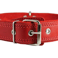 "Genuine Leather Braided Studded Dog Collar, Red 1.6"" Wide. Fits 19""-24"" Neck Size Akita"