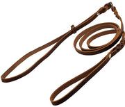 "Slip Leash in Brown Genuine Leather Lead and Collar system 54"" Long 3/8"" Wide Medium"
