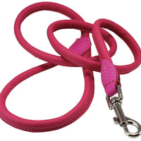 Dogs My Love 4ft Long Round Genuine Rolled Leather Dog Leash Pink