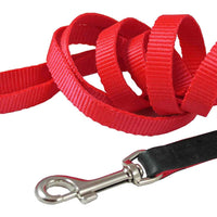 "Dog Leash 1/2"" Wide Nylon 5ft Length with Leather Enforced Snap Red Small"