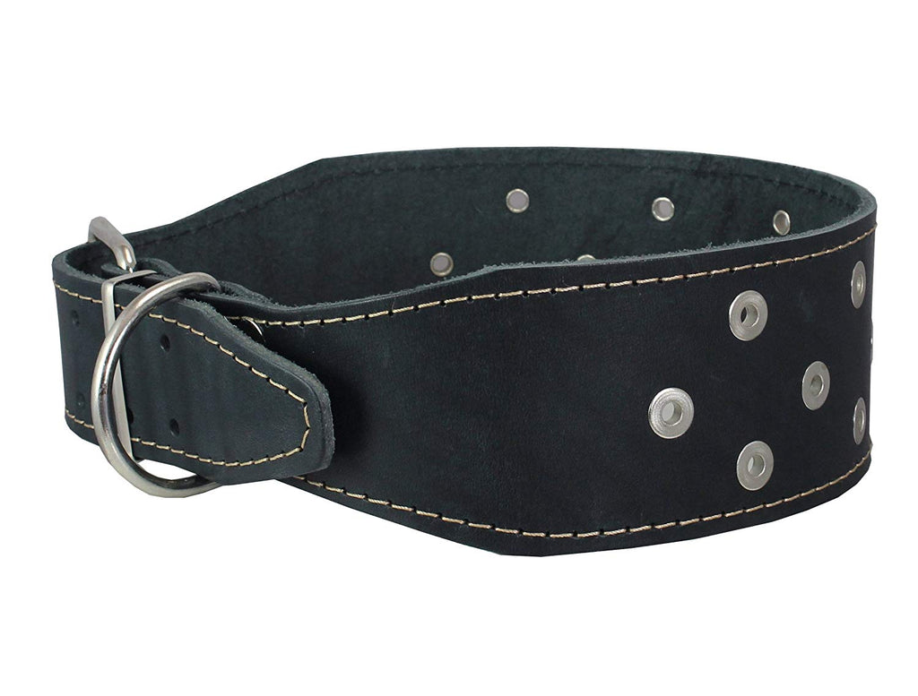 "3"" Extra Wide Heavy Duty Genuine Leather Studded Black Leather Collar Fits 19""-23"" Neck Large Breeds"